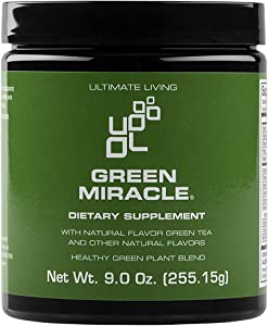 Ultimate Living - Green Miracle Powder - Whole Food Sourced, Gluten Free, Non-GMO - Vegan Superfood for Energy, Detox, Immune & Digestive Health - Light Vanilla Flavor, 30 Servings