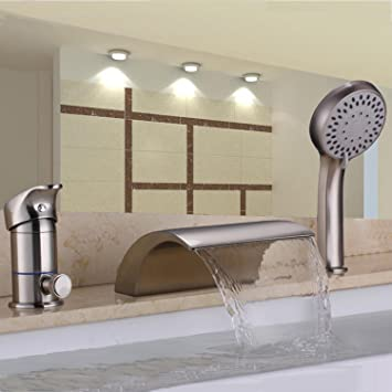 Hiendure Waterfall Solid Brass Roman Tub Faucet Set with Hand Shower  Brushed Nickel