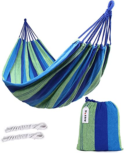 Kottle Outdoor Soft Cotton Fabric Brazilian Hammock Double Wide 2 Person Travel Camping Hammock Blue