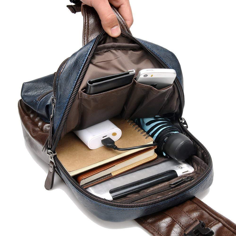 Men/'s Sling Bag Crossbody PU Leather Shoulder Backpack with USB Charging Port Vintage Chest Bag for Men Black