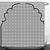 Interestlee Shower Curtain Moroccan Decor Arabian Art Background with a Group of Traditional Turkish Ottoman Forms and Patterns Black White