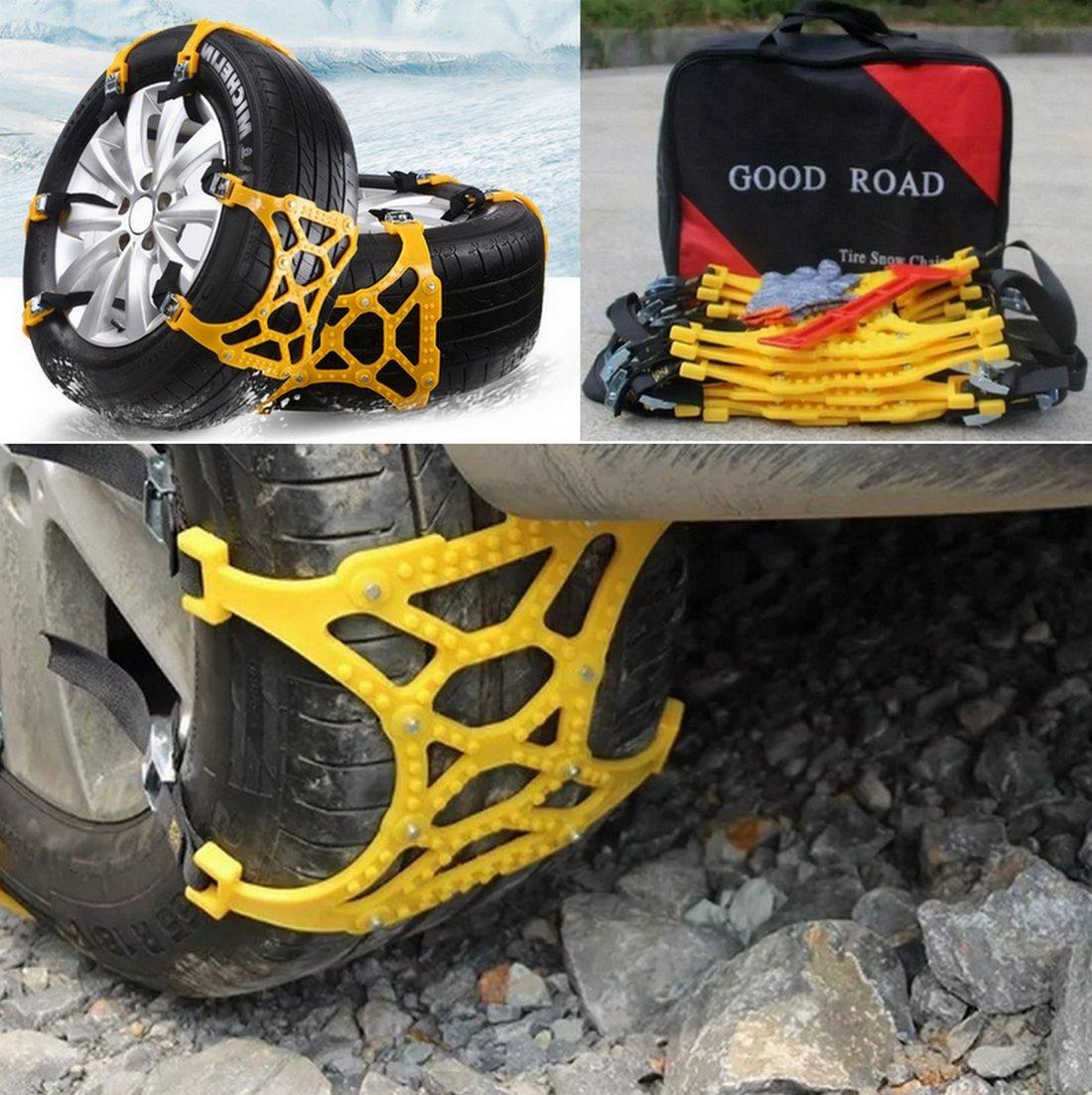 Junyun Universal Anti Snow Tire Chains/Slip Chanins/Snow Tire Chains of Car,SUV, 6 pcs Adjustable Emergency Pure Tendon Thickening Anti-skid Chains + Glove + Snow Shovel Ice Crusher Scraper (Yellow)