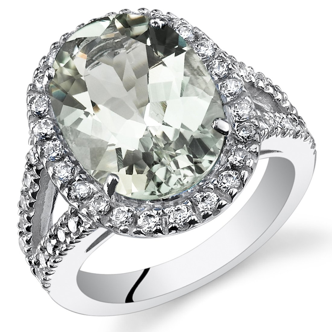 5.25 Carats Green Amethyst Engagement Ring Sterling Silver Size 6