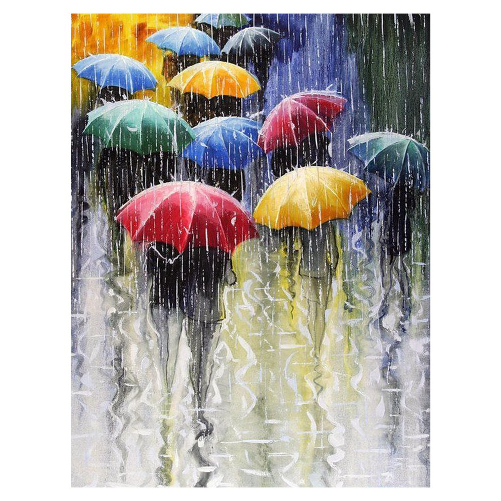 Blxecky 5D DIY Diamond Painting By Number Kits,The pedestrians in the rain(30X40CM/12X16inch)