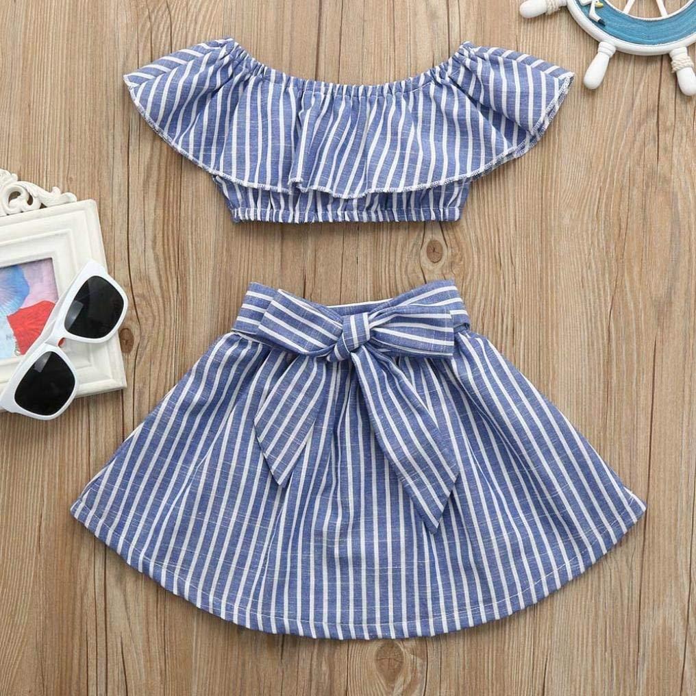 b08e6e58eb7 Amazon.com  2Pcs Toddler Baby Girls Ruffle Off Shoulder Striped Tops+Bow  Skirt Sets  Clothing