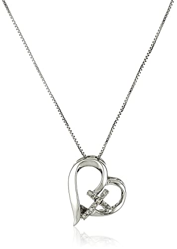 Amazon sterling silver diamond accent open heart faith hope sterling silver diamond accent open heart quotfaith hope lovequot pendant necklace aloadofball Image collections