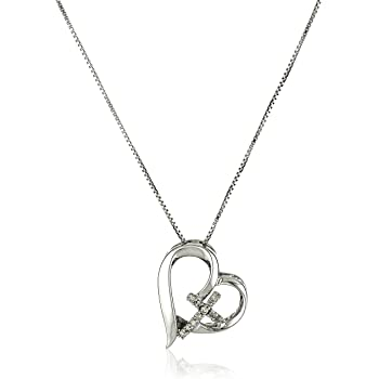 Amazon Com Sterling Silver Diamond Accent Open Heart