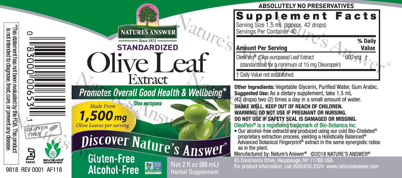 Nature's Answer Oleopein Olive Leaf, Super Concentrated 1,500mg Promotes Overall Good Health and Well Being Alcohol-Free, Gluten-Free Kosher 2oz