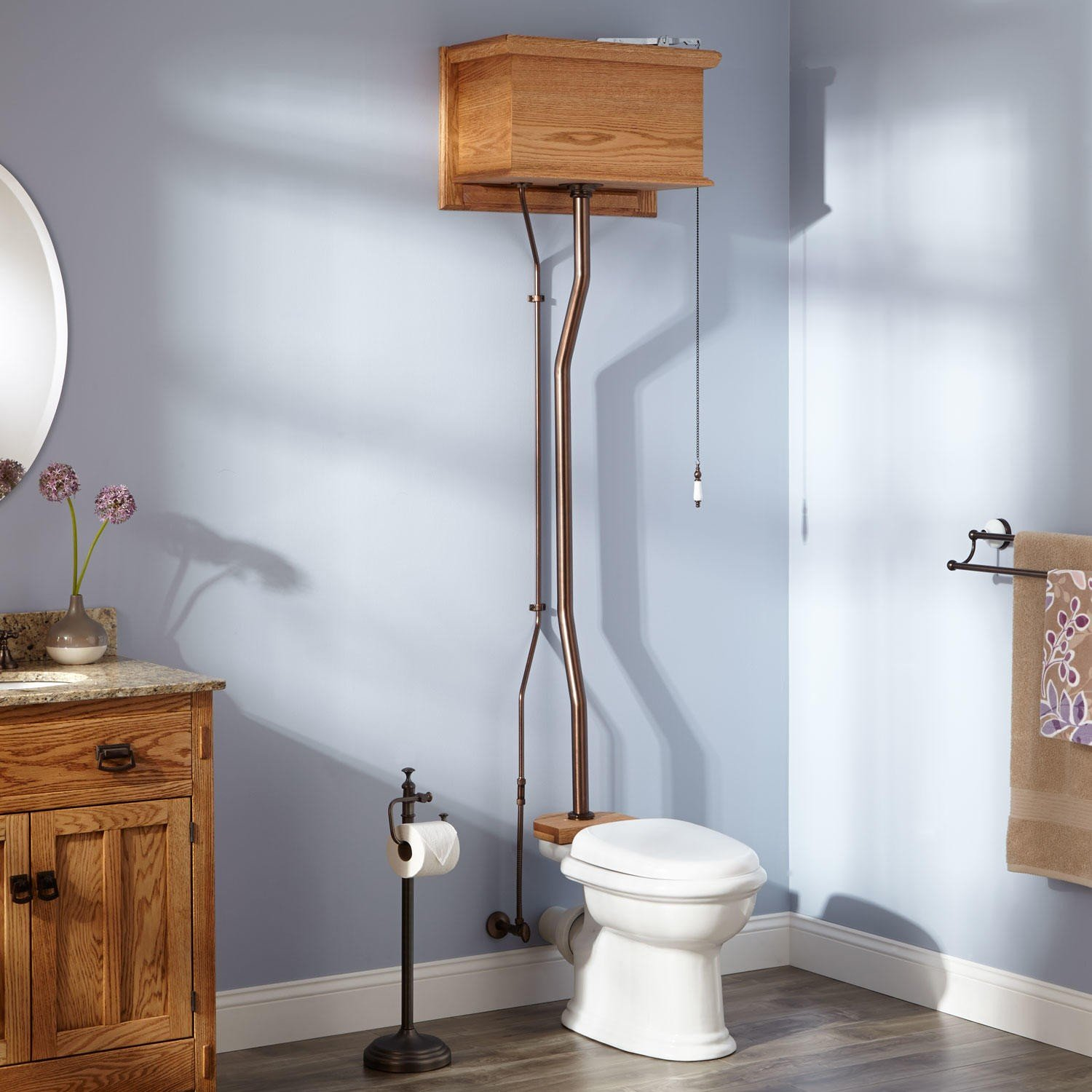 Naiture Golden Oak High Tank Pull Chain Water Closet With Rear Outlet Bowl And Oil Rubbed Bronze Finish Hardware