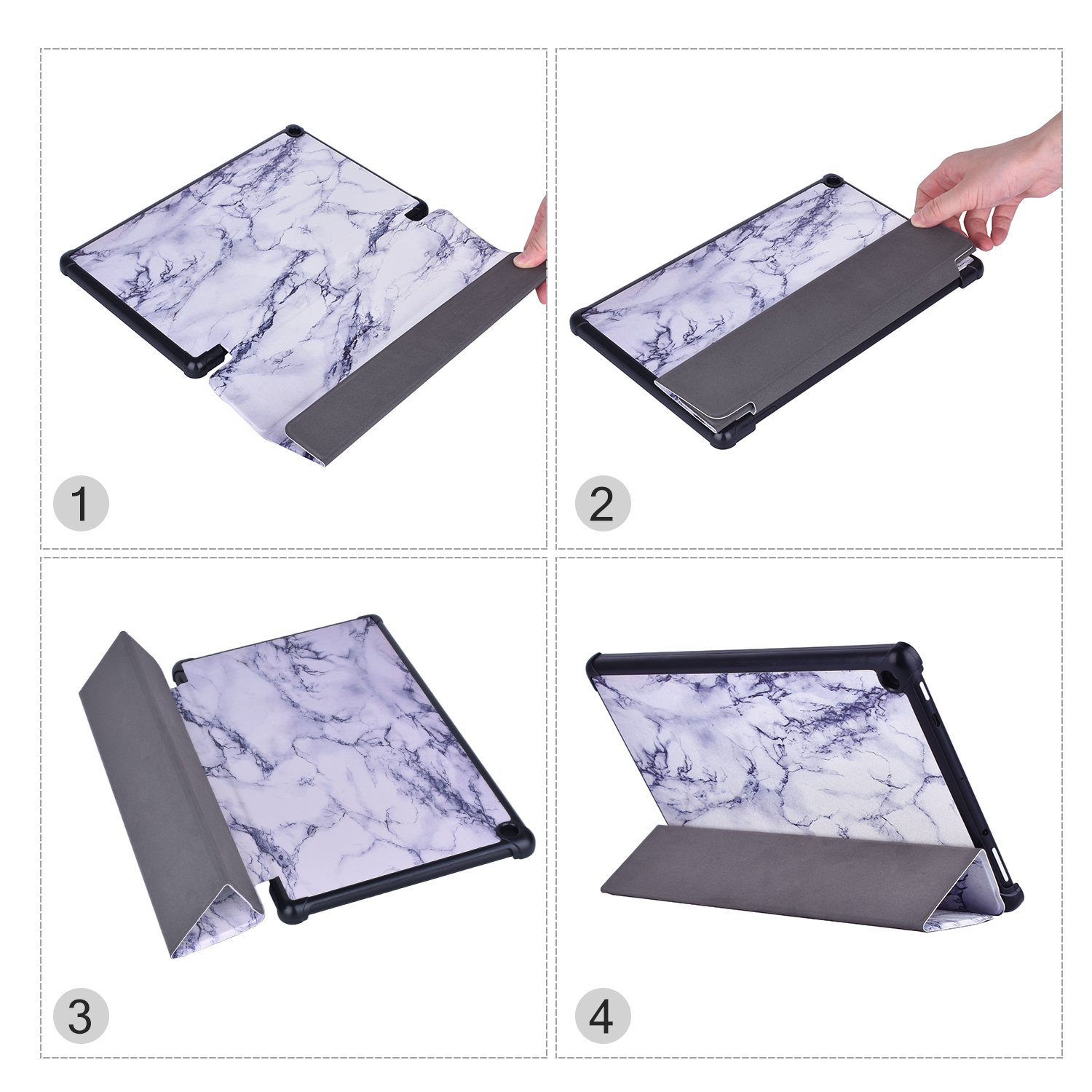 Dopup Fire 10 Case for All-New Fire HD 10 Tablet (7th Generation, 2017 Release),Protective Standing Cover with Auto Wake/Sleep Function (White Marble)