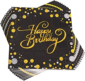 Trgowaul Birthday Party Cocktail Napkins - 100 Pack Gold Foil Happy Birthday Disposable Paper Napkins, Perfect for Birthday Party Supplies, 6.5 x 6.5 Inches Folded, Black