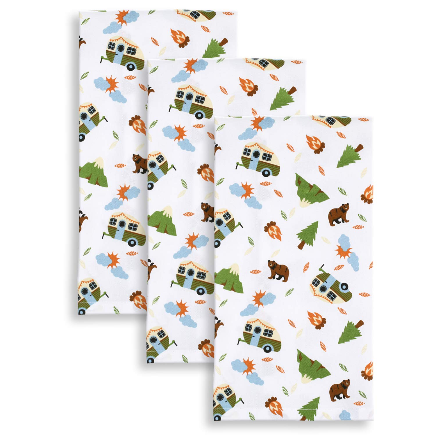 Set of 3 Cackleberry Home Camping Adventures Kitchen Towels 18 x 28 Inches 100/% Cotton