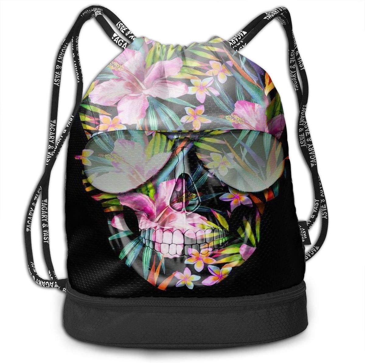 Drawstring Backpack Skull Flowers Shoulder Bags