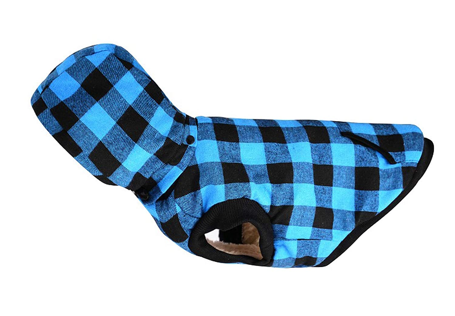 bluee X-Large bluee X-Large GabeFish Check Dog Removable Hoodie Jacket Winter Outdoor Gear Harness Hole bluee X-Large