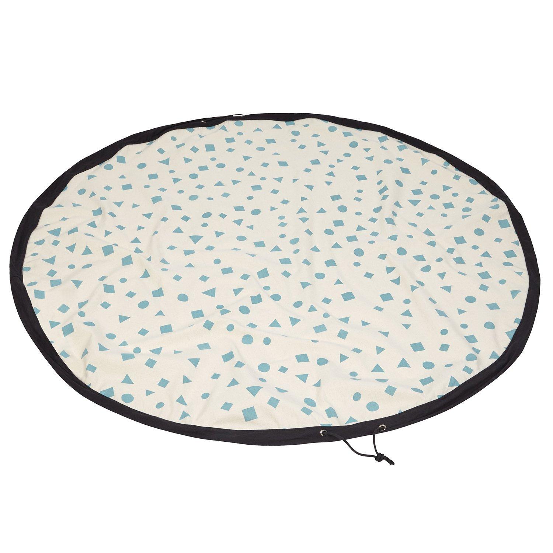 lovely lemon Aufräumsack aus robustem Baumwoll-Canvas in Mint | Praktische Spielmatte für Babys, Kinder, Kleinkinder | Runde Spieldecke für Unterwegs und Zuhause | 140 x 140 cm