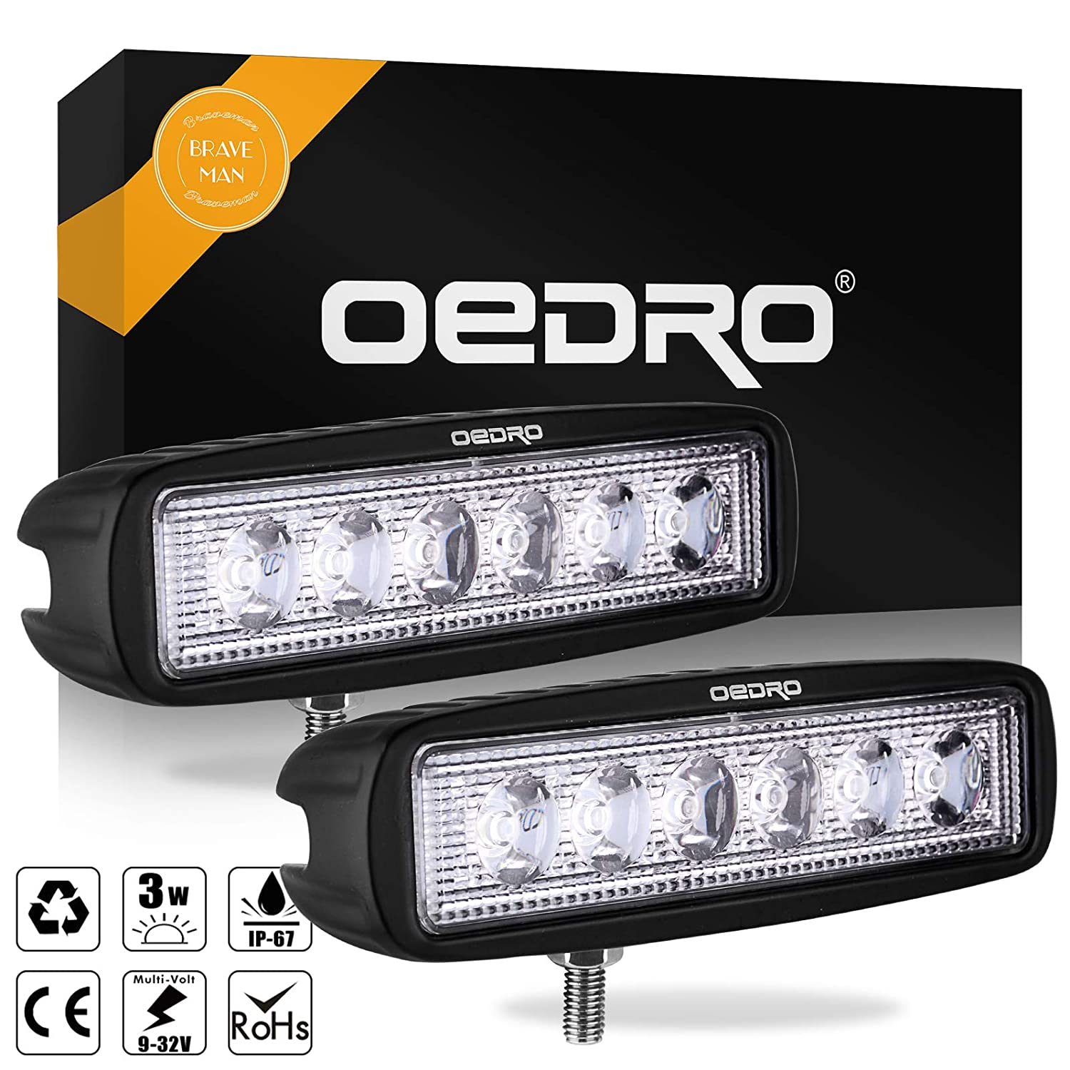 oEdRo 6Inch LED Light Bar 2pcs 18W Spot Fog Driving Lights Off Road Light Car Boat Lights LED Work Light Lamp Compatible for SUV 4X4 4WD ATV Jeep Truck 3 years Warranty 4333221464