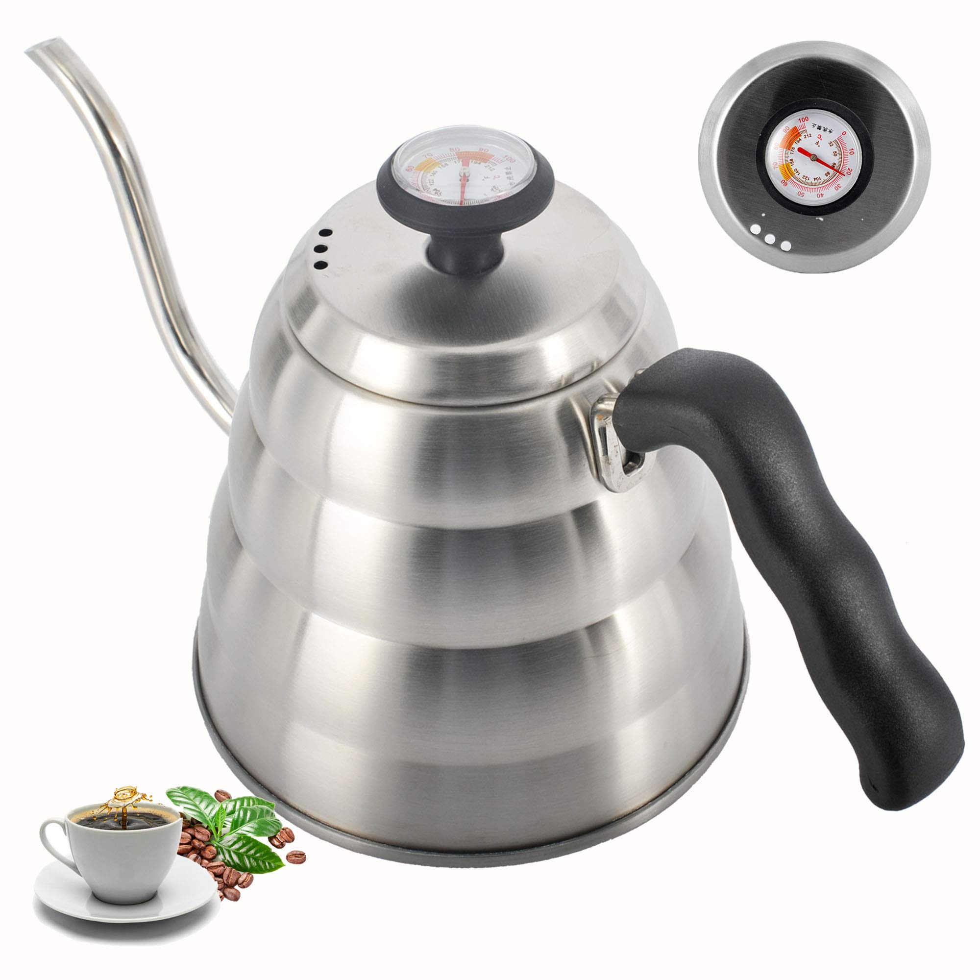 Pour Over Coffee Kettle with Exact Thermometer,Naturous Gooseneck Kettle Tea Kettle for Drip Coffee and Tea (1.2 Liter | 40 fl oz)