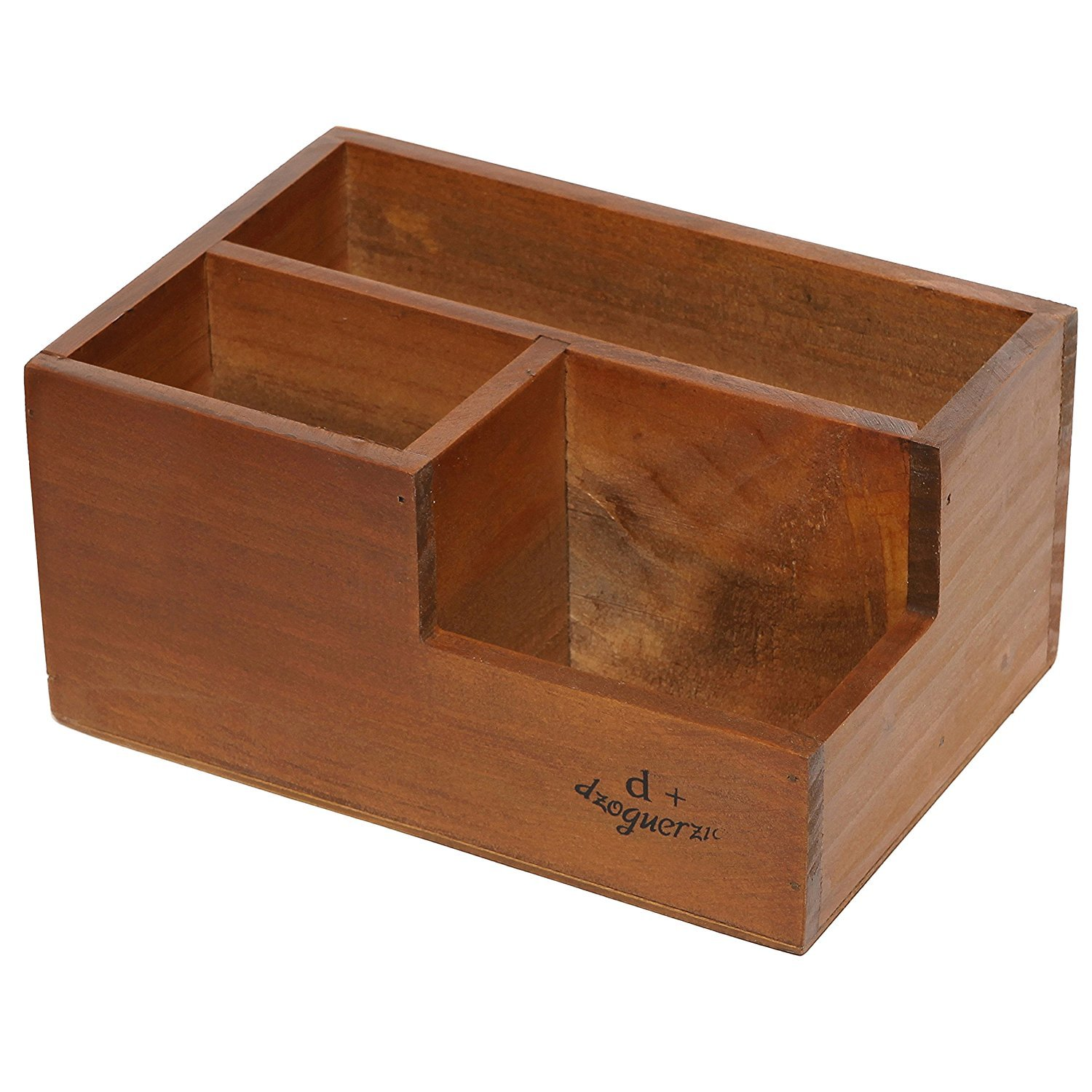 Chris-Wang Multifunctional 3-Compartment Wooden Desktop Office Supply Caddy/Pencil Holder/Desk Mail Organizer/Succulent Plants Planter(Classic Brown) by Chris.W (Image #3)