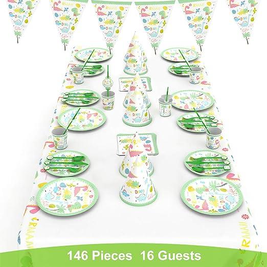 decalmile 146 Piezas Vajilla Diseño de Dinosaurio para 16 Infantiles Decoración de Fiesta de Cumpleaños (Platos, Tenedores Cucharas Cuchillos, Vasos, ...