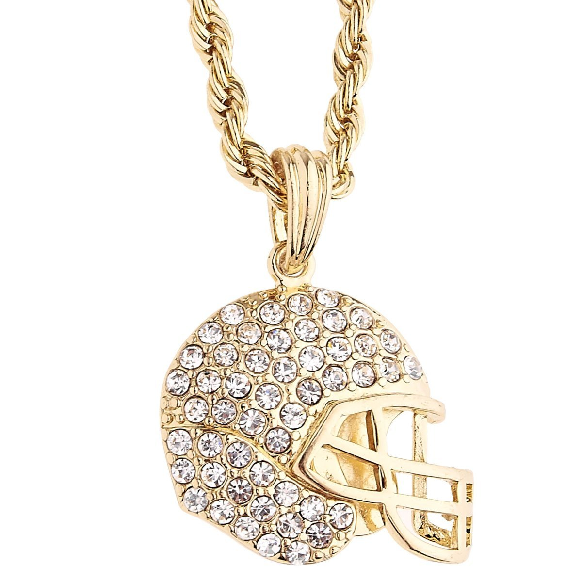 .iced-out. Bling Rope Kordelkette - Football Helm Gold