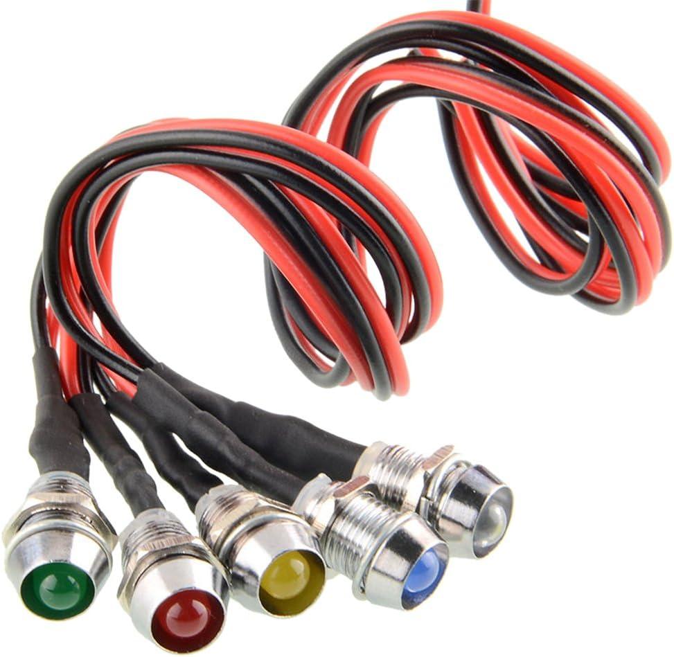 5 Pcs luces del indicador LED piloto de la lámpara,12V (Vario colores)