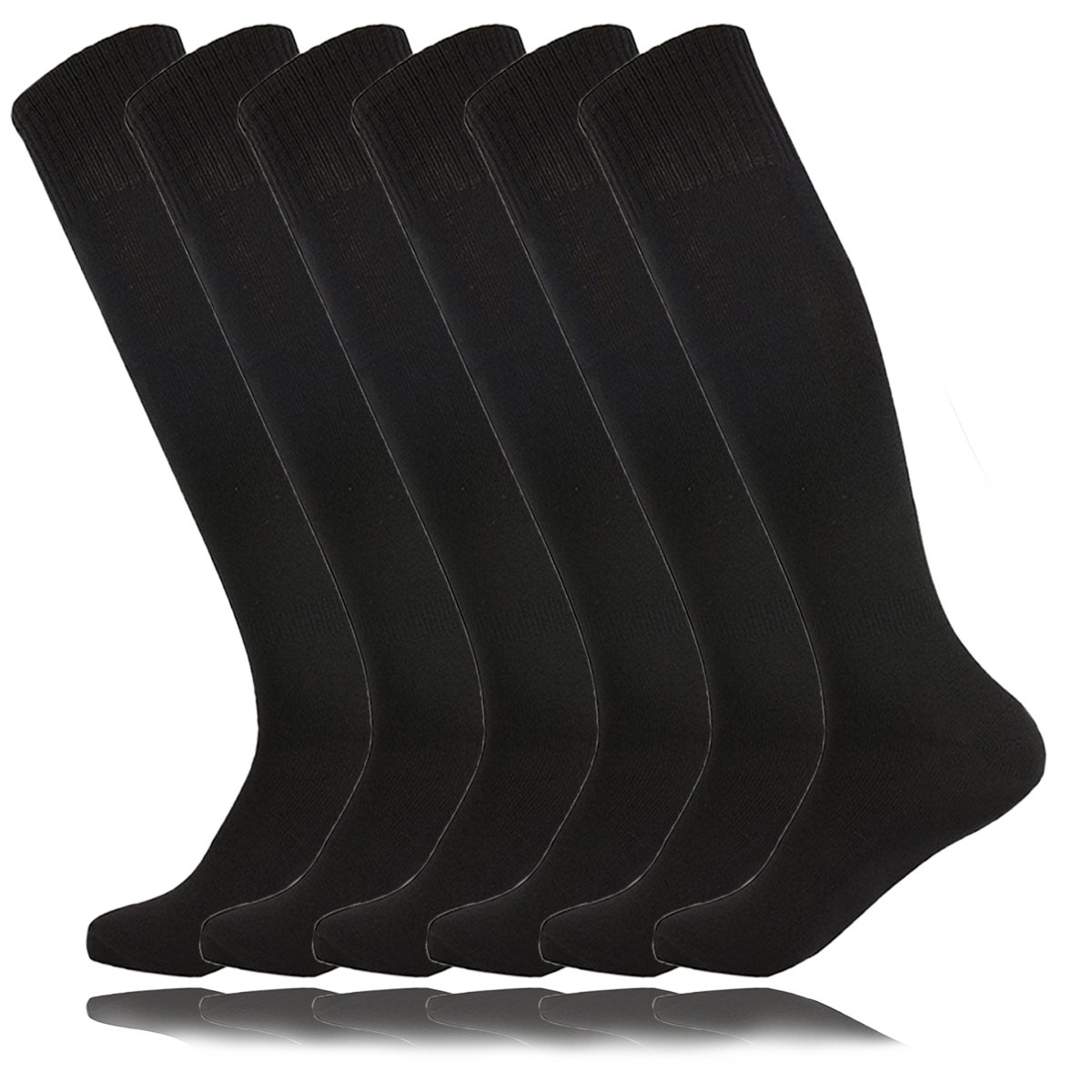 Unisex Youth Knee High Resistor Comfortable Athletic Hockey Soccer Socks Black for High School Students Porristas Baile Easter Day Gift (6Pairs-Black) by MOAIR