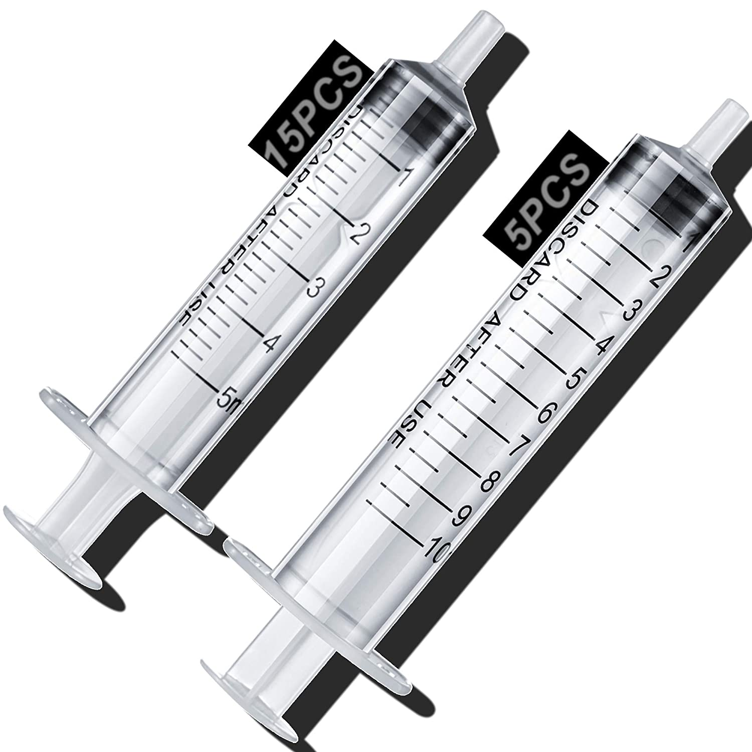 20 Pack Large Syringes, Large Plastic Garden Industrial Syringes for Scientific Labs, Measuring, Watering, Refilling, Filtration Multiple Uses (10ML,5ML)