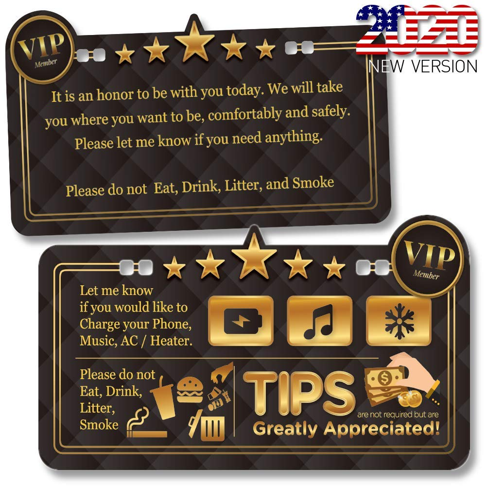 Tips /& Five Stars Rating Reminder Accessories Sign for Rideshare Driver Tips Appreciated Sign//Plastic Both Sides Printed Casual Type ATOZ BOX Uber /& Lyft