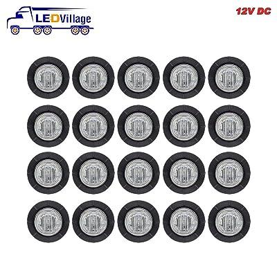 (Pack of 20) TMH 3/4 Inch Mount Clear Lens Amber LED Clearance Bullet Marker lights, Side LED marker lights for trailer Truck RV Car Bus Van: Automotive