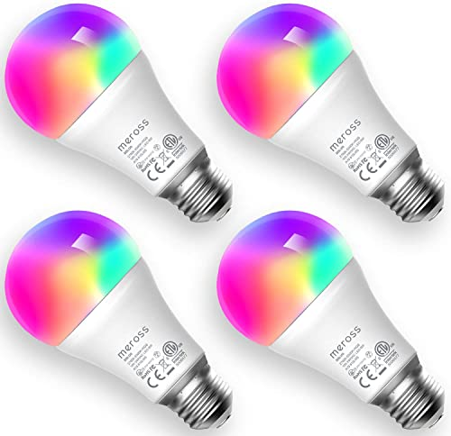 Smart Light Bulb, meross Smart WiFi LED Bulbs Works with Alexa, Google Home, Dimmable E26 Multicolor 2700K-6500K RGB, 810 Lumens 60W Equivalent, No Hub Required, 4 Pack
