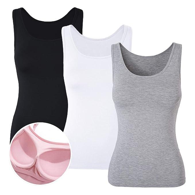 DYLH Camiseta Básica para Mujer con Sujetador Incorporado para IR a Gimnasio Fitness Deportes Yoga: Amazon.es: Ropa y accesorios
