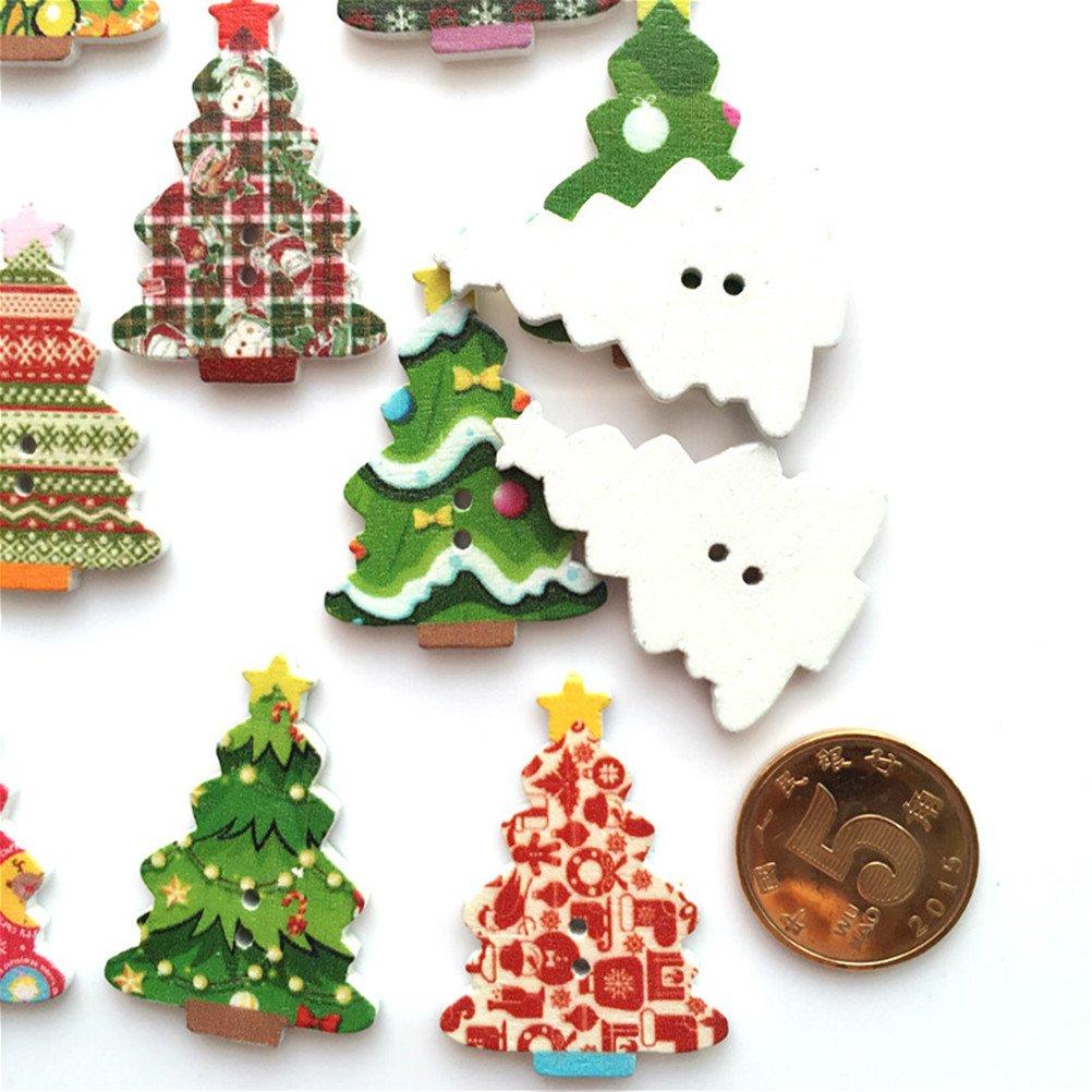 R SODIAL 5//8 pollici 100 pz Natale 2 fori Scrapbooking verniciato Legno di cucire pulsanti 15 mm