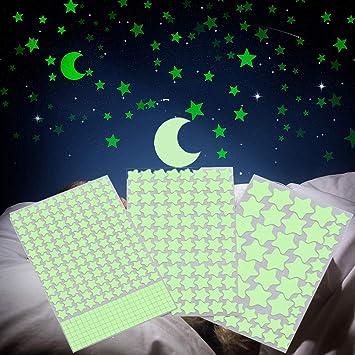 Finduat 453 Pegatinas De Pared Que Brillan En La Oscuridad Estrellas Y Lunas Estrellas Brillantes Y Luna Para Techos Y Adhesivos De Pared Perfecto Para La Habitación De Los Niños O