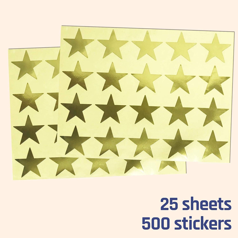 25 Feuilles Paquet de 500 Autocollants 4cm M/étallique Coeurs dOr Autocollants