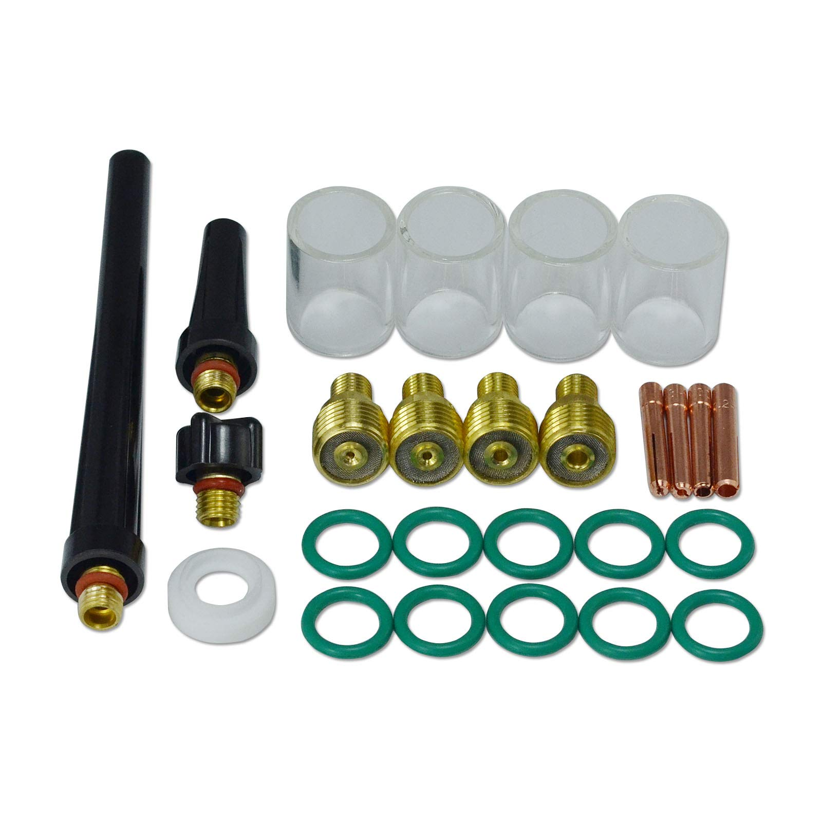 TIG Gas Lens Collet Body Pyrex Cup Kit DB SR WP 9 20 25 TIG Welding Torch 26pcs by RIVERWELD