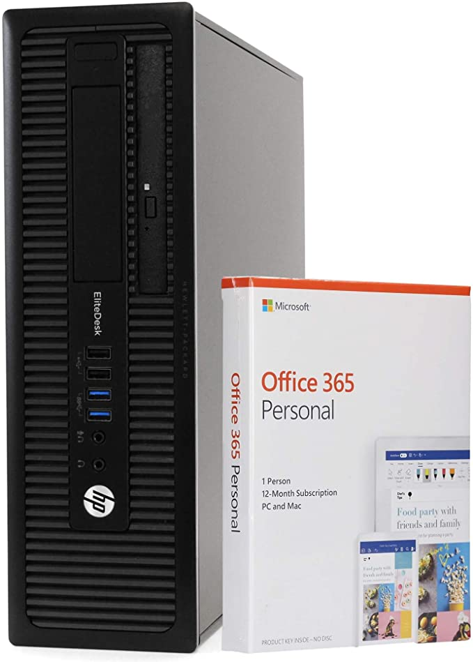HP EliteDesk 800 G1 Small Form Desktop PC Computer, Intel i5-4590, 8GB RAM, 256GB Solid State Drive, Windows 10 Professional, Microsoft Office 365 Personal, New 16GB Flash Drive, DVD, WiFi (Renewed) | Amazon