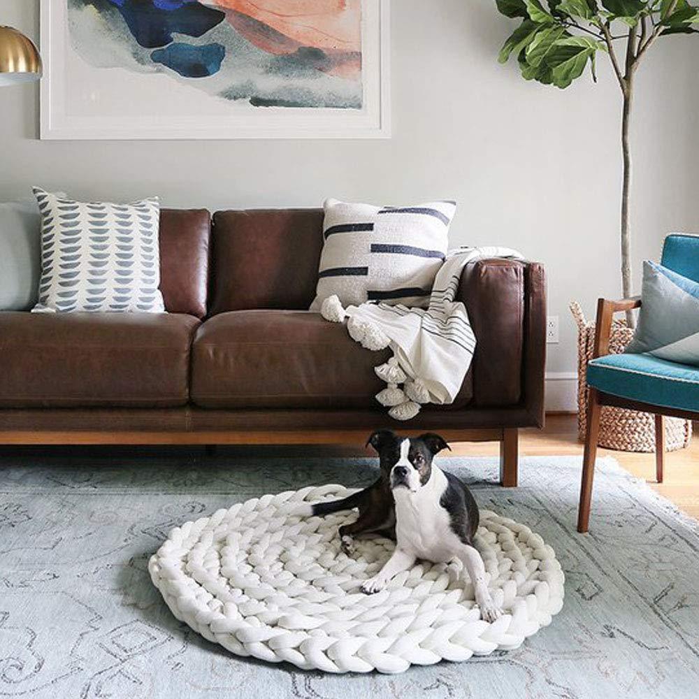 Clisil Hand Knit Cotton Tube Yarn Rug Giant Super Chunky White Braid Cotton Rug Bedroom Nursery Carpet Bathroom Mat Pet Friendly,Diameter 24''