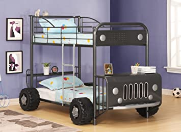Dark Grey Bunk Beds Bus Unusual Kids Beds Open Army Bus Amazon Co