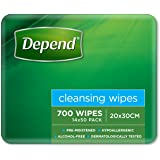 Depend Adult Care Wipes, Alcohol Free Wet Wipes, Large (Pack of 700)