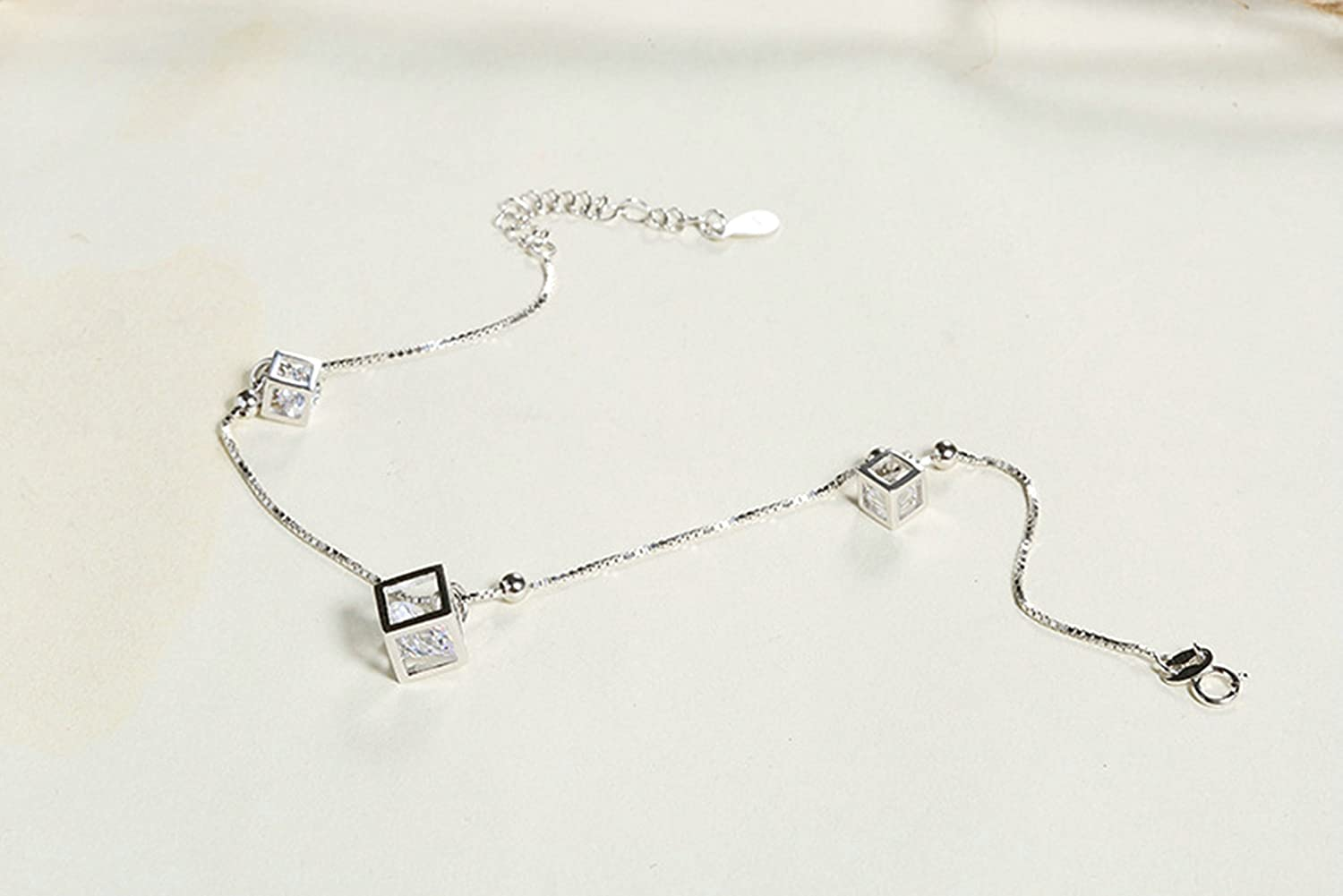 Silver Ankle Bracelet for Womens Hollow Square Cubic Zirconia Anklet Beach Foot Jewelry for Girls