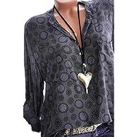 Kangrunmy Chemisier Femme Chic Casual Manches Longues Col V Mousseline Tops Blouse Mode Sweat Sweatshirt Veste Chemise T-Shirt Hauts Fluide Tunique Manteau