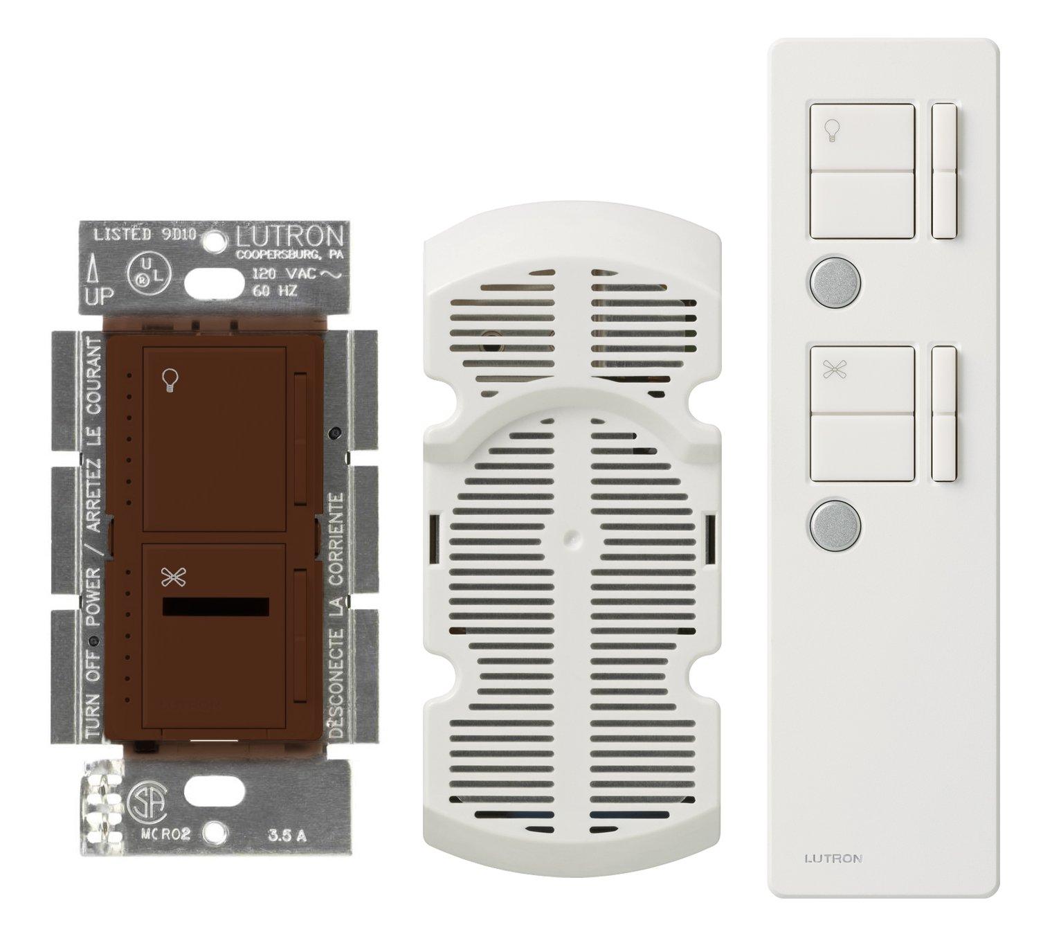 Lutron MIR-LFQMT-SI Maestro Ir 300-Watt Multi-Location Digital Dimmer 1-Amp Quiet Fan Control with Remote Control and Canopy Module, Sienna by Lutron