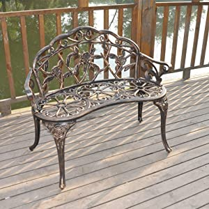 "Metal Garden Bench 38.5"" Patio Park Garden Outdoor Rose Bench,Cast Aluminium Iron Frame Antique Finish Chair,Accented Lawn Front Porch Path Yard Bronze Decor Deck Furniture 2 Person Seat Outdoor Bench"