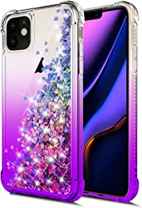 for iPhone 11 Case,WORLDMOM Gradient Colorful Design Bling Flowing Liquid Floating Sparkle Colorful Glitter Waterfall TPU Protective Phone Case for Apple iPhone 11 6.1 inch [ 2019 ], Purple