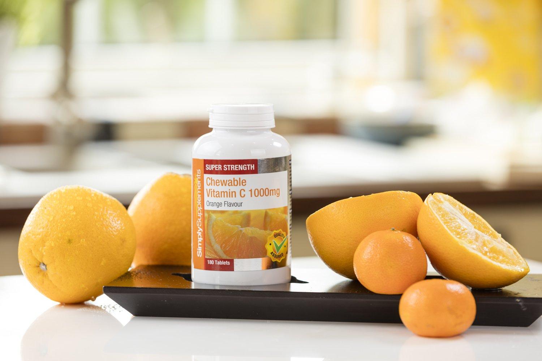 Vitamina C Masticable 1000mg -2 frascos de 180 comprimidos - Hasta 1 año de suministro - SimplySupplements: Amazon.es: Salud y cuidado personal