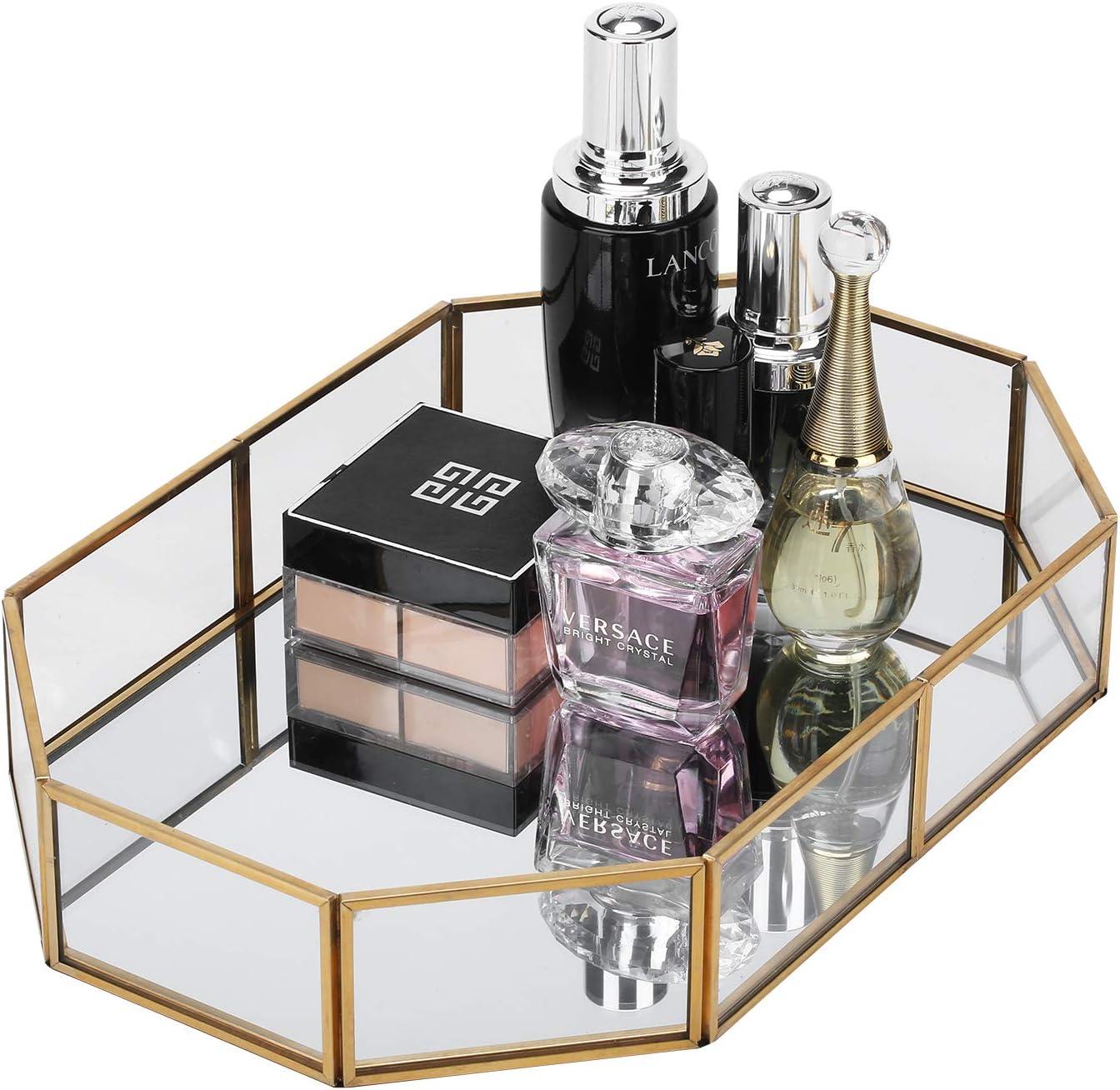 WaiTing Decorative Makeup Vanity Trays, Crystal Mirrored Cosmetic Jewelry Toiletries Trinket Home Decor Tray Handmade Glass Ornate Perfume Tray for Dresser Bedroom Bathroom Restaurant Hotel (Polygon)