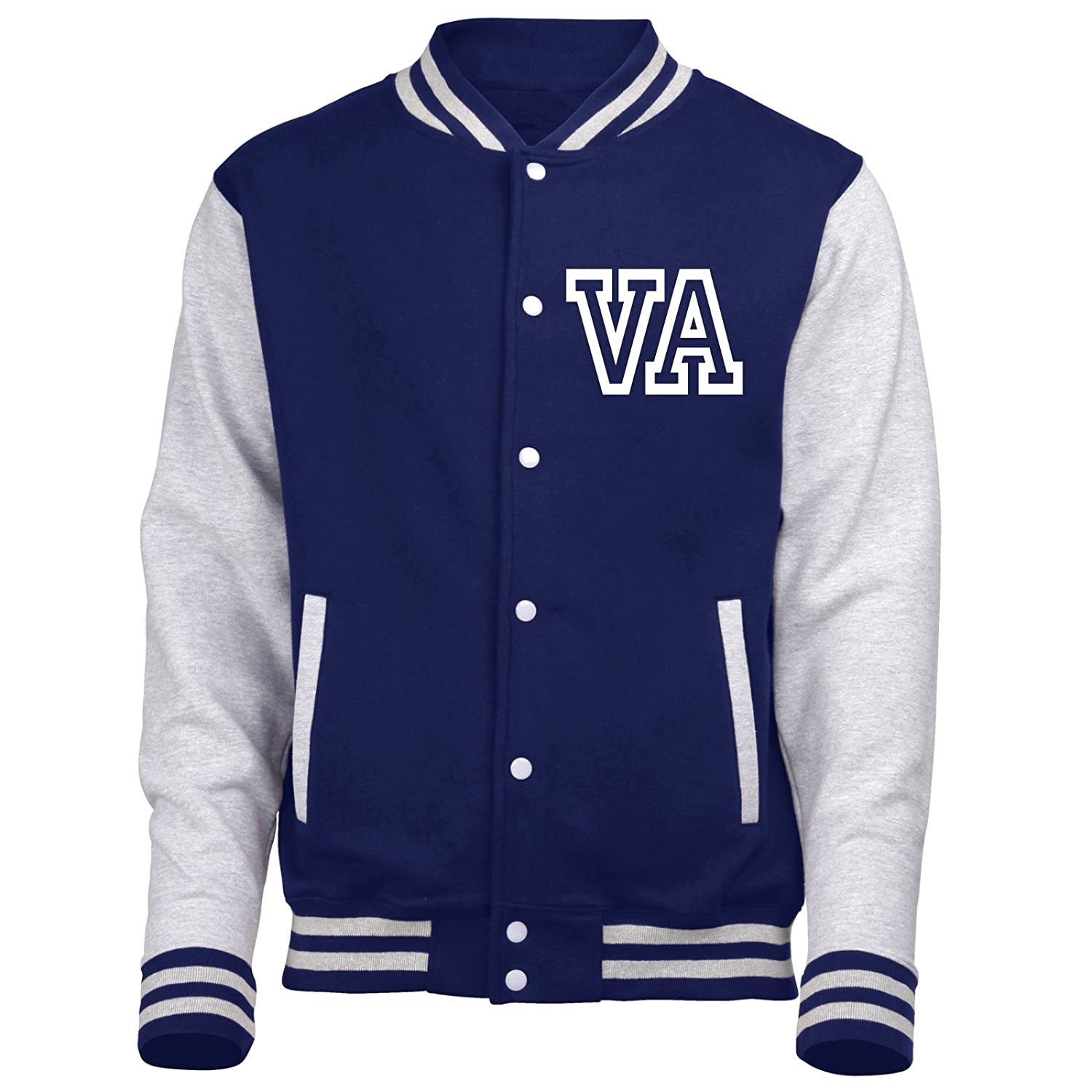 KIDS VARSITY JACKET WITH FRONT INITIALS (Oxford Navy/Heather Grey) Oxford Navy / Heather Grey Large - Age 9/11 Fonfella