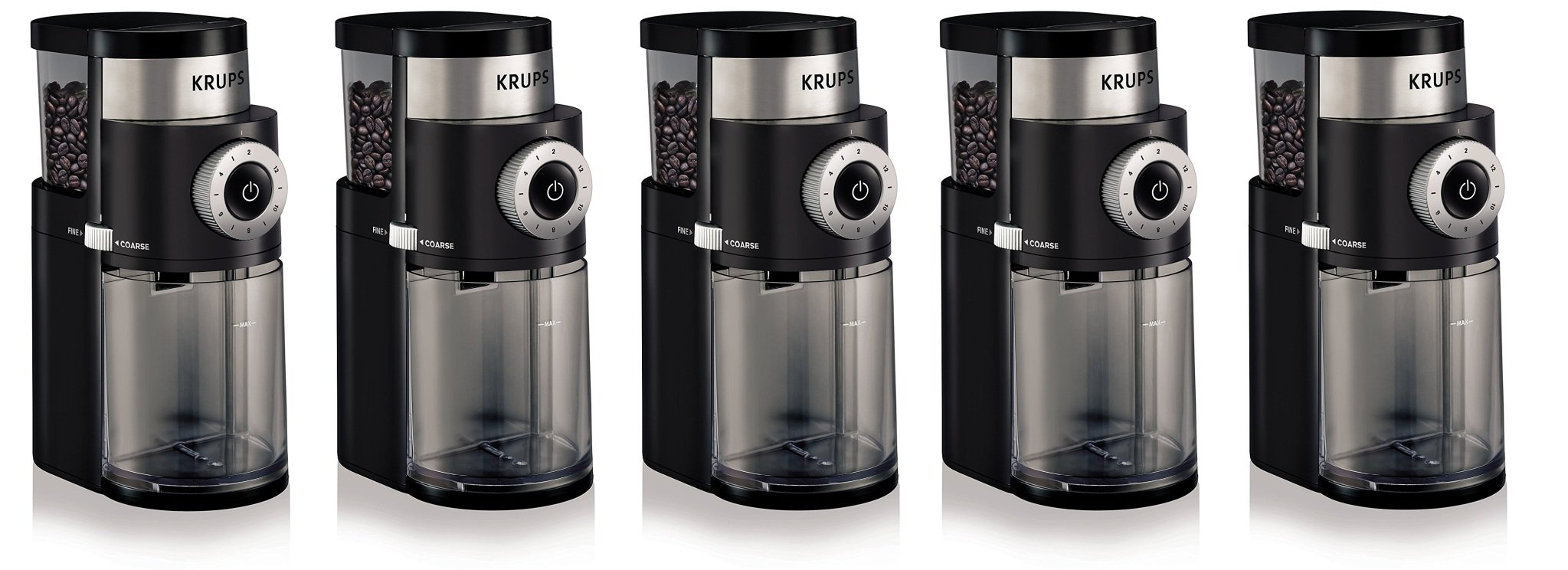 KRUPS GX5000 Professional Electric Coffee hGqrUc Burr Grinder with Grind Size and Cup Selection, 7-Ounce, Black, Burr Grinder (Pack of 5)