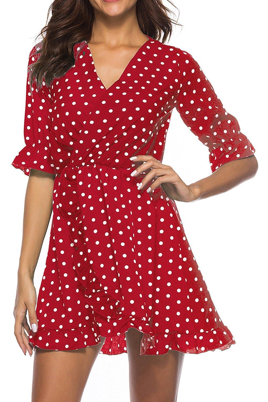 d6982ca27f5 Vosujotis Women Casual Dress Ruffles V Neck Polka Dot Low Cut Dresses:  Amazon.co.uk: Clothing