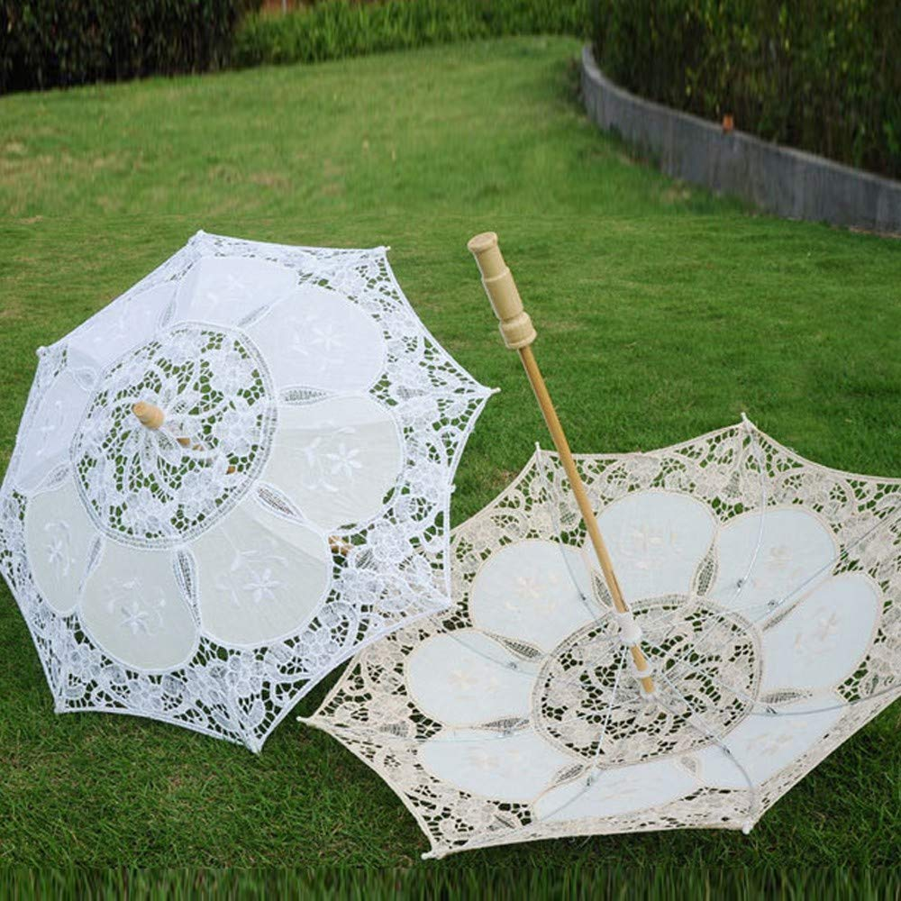 Mini Chic Lace Umbrella Parasol White Embroidery Handmade Sun Umbrella Costume Accessories Wedding Party Decoration Photo Props for Bridal Girls Kids (White) by Codiak-Decor (Image #1)
